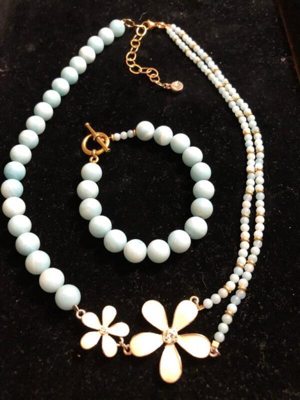 VINTAGE INSPIRED BLUE BEADS NECKLACE & MATCH BRACELET 1/20 12K GOLD FILL FLOWER