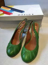 Fab Office Green Leather Sling backs, size 36, UK 3, BNIB