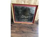 Lovely metal painting of dog in wooden frame