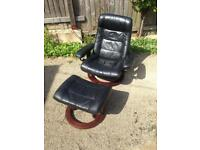 Large black leather erkones stressless chair and stool