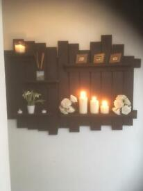 Rustic hand made bespoke display shelf