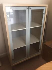Wood and glass cabinet with internal light