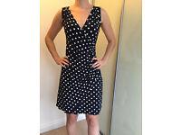 Dark blue summer dress with white polka dot - size 10