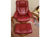 Stressless Medium Manhatten Chair and Footstoll VVGC