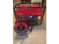 Portable petrol generator plus 25m heavy duty cable in excellent condition