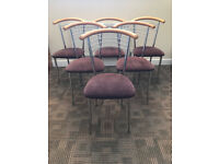 Set of 6 Chrome/Brown Dining Chairs
