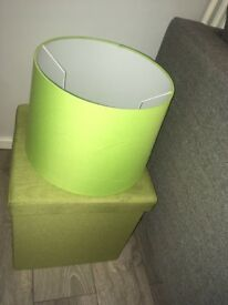 Lime green ottoman and lamp shade