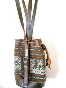 LEATHER TAPESTRY Shoulder Bag PURSE Hippie hippy Tote Purse BOHO Hobo Brown Aztec Inca Native Aboriginal Vtg