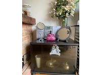 Tv stand glass cabinet unit storage wheels display dressing table trolley drinks bar