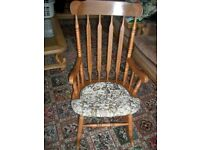 ROCKING CHAIR , GOOD SOLID EXAMPLE, UPHOLSTERED SEAT ,