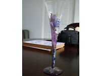 Beautiful decorative glass flute in purple, lilac, grey and gold, excellent condition.