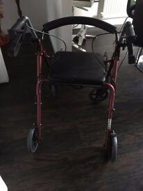 Rollator 4 Wheeled Walker with Seat Walking Frame Zimmer Walking Aid