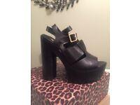 Chunky black river island heels. Size 8. Worn once.