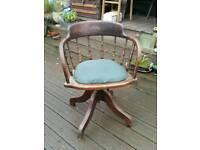 Antique Oak Captains Desk Office Swivel Chair