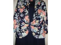 Navy Dress & Matching Floral Jacket By Condici Cost Just Under £300 Size 16