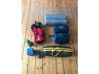 Camping set includes two man tent, two sleeping bags, rucksack, mats, stove and oil lamp