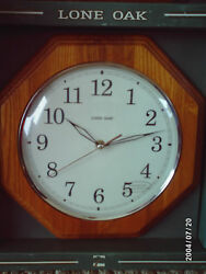 Lone Oak 12 Octagon Wall Clock * Wood Frame * Glass Face * runs on 1 AA Battery