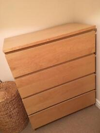 IKEA Malm Birch - Chest of 4 Drawers