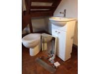 Toilet / WC suite, job lot includes wc, wash basin, vanity cupboard, towel radiator & accessories