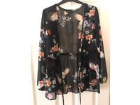 New Look Black Sheer Floral Bird Kimono Size 8 Brand New With Tags