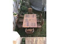 Alexander Rose solid hardwood table and 6 high back carvers