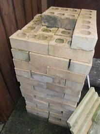 112-140+ SANDSTONE BIEGE BRICKS COST ME 65p EACH, £20 FOR THE LOT (LESS THAN 18p each) suit BBQ/wall