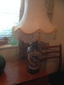 * REDUCED * LARGE CHINA GINGER JAR TABLE LAMP WITH SHADE .