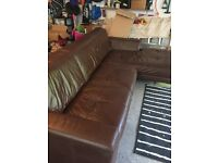 Dfs brown leather sofa Immaculate condition needs to go this week