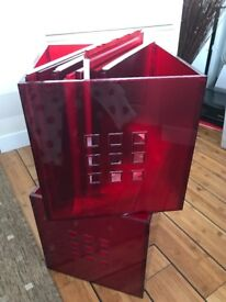 4 Ikea red storage boxes good condition
