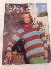 Vintage Wendy DK Knitting Pattern No.1414 for Ladies' Long Sleeved Jumper (Used)
