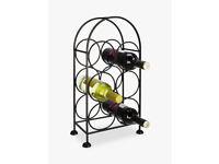 NEW John Lewis Iron Wine Rack, 6 Bottles, Black