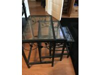 Metal Black glass nest of 3 tables