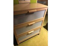 Two IKEA 3 drawer & 1 narrow 5 drawer matching chests