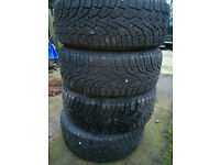 4x 205/55/16 gislaved nordfrost tyres with 7mm tread on five stud subaru alloys