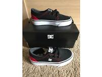 Brand New in box boys DC trainers size Infant UK 10 in red and black