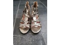 Ladies gold gladiator sandals, size 4