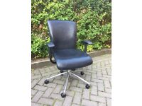 Black adjustable leather office chairs with castors (12 available)