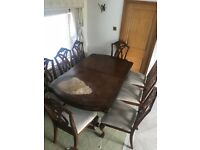 Mahogany Wooden Dining Table and 8 Chair Set