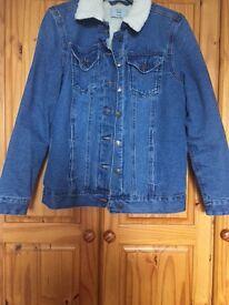 Women's New Look Denim Jacket w/Faux Shearling Collar UK size 8