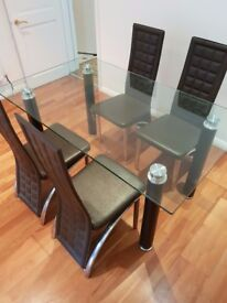 Modern Stylish Glass Dining Table Plus 4 Faux Leather Chairs