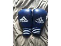Red and black Lonsdale punch bag and Adidas performer blue boxing gloves signed by Anthony Joshua