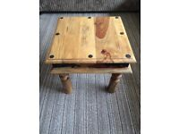Rustic Hard Wood Side Table with Bolted Ironwork Decoration