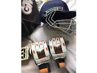 Cricket bag, bat, helmet, gloves etc