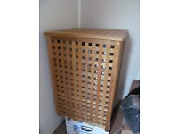 Solid Wood Laundry Box Linen Hamper with Lift-up Lid and Bag