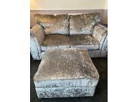 Two seater, chair & footstool grey velvet glitz