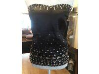 Plus size 26 black basque, hook n eye fastening , silky black with rhinestones front & nylons