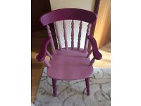 Solid pine carver chair painted pink