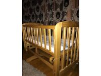 Baby Cot Swinging Crib With Mattress 0 6 Month