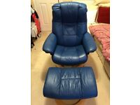 Ekornes Stressless Leather Recliner Chair with Footstool in Stunning Blue