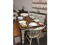 Lovely Pine Farmhouse Table with 2 Benches and 2 Chairs-White-Shabby Chic